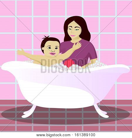 Mother washes smiling child in bathroom vector illustration