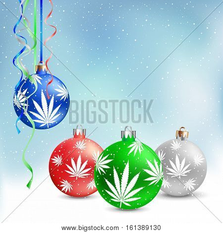 Cannabis hemp marijuana Christmas balls on light white and blue snow background. Smoke hashish narcotic patern