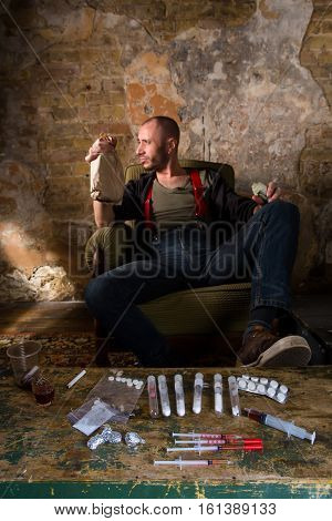 Closeup picture of rugs. Drug dealer waiting for customers who are addicted to drugs. Drugs concept. Drug addiction concept.
