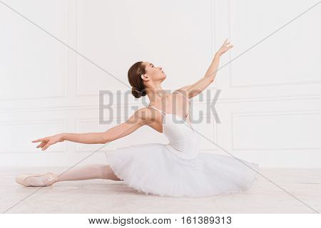 Look here. Delighted elegant ballerina wearing white leotard with tutu looking upwards holding arms in the air while sitting on the floor