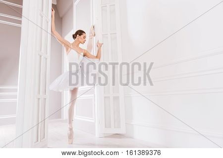 Light studio. Professional serious female wearing white leotard with tutu stretching her leg while using doors in the studio