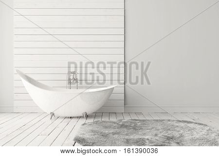 Blank bright bathroom with wooden floors carpet and a large bathtub. Minimalistic loft bathroom mockup. 3D rendering