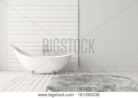 Blank bright bathroom with wooden floors carpet and a large bathtub. Minimalistic loft bathroom mockup. 3D rendering