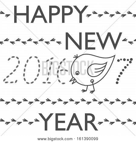 Happy New Year greeting card. Year of Rooster. Cute funny chicken - eating grains from subscription 2016 and pooping number 7 from 2017. Seasons greetings. Black and white vector illustration.