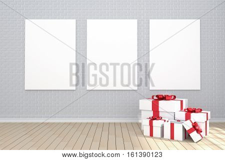 3D Rendering : Illustration Of Three White Poster Hanging On The Wall In Empty Room.brick Wall And W