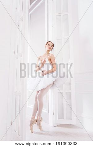 Great atmosphere. Graceful young woman wearing white leotard with tutu looking sideways while holding both arm on the belt