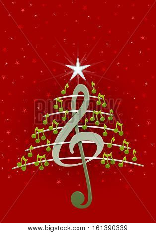 Christmas tree made of green musical notes, treble clef and pentagram on red background with stars  - Vector image