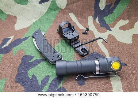 Military Set Of Flashlight, And The Sight Whith Knife.