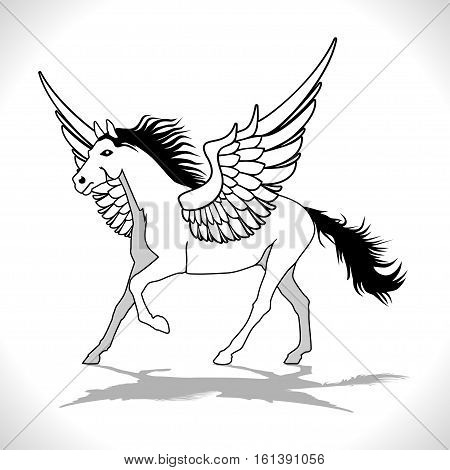 An illustration of a winged stallion on a white background.