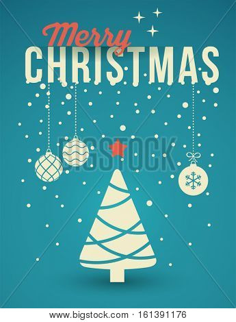 Christmas Tree, Greeting Card with ornaments and snowflakes.
