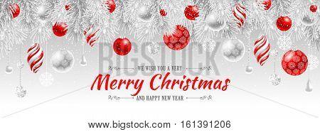 Elegant Christmas banner template. Vector illustration.