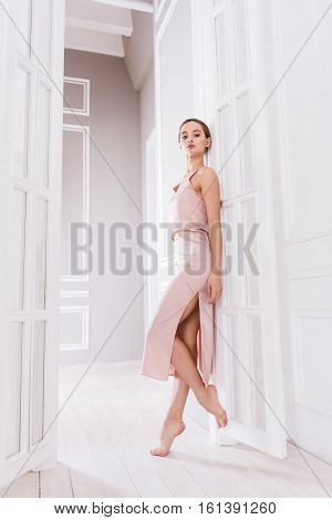 Perfect career. Graceful young woman wearing long pink dress while standing in semi position in doorway looking straight at camera