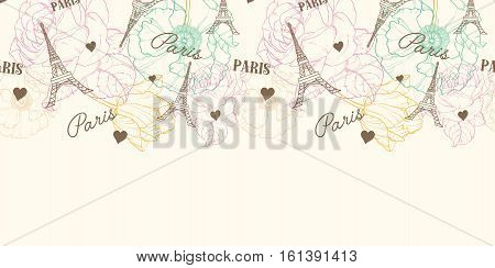 Unique Vector Eifel Tower Paris Seamless Pattern Horizontal Border In Vintage Style With Beautiful, Romantic Pastel Flowers. Perfect for travel themed postcards, greeting cards, wedding invitations. Repeat design. Surface pattern textile design.