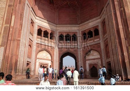 FATEHPUR SIKRI, INDIA - FEBRUARY 15 : Buland Darwaza, the 54 meters high entrance to Fatehpur Sikri complex, Uttar Pradesh, India on February 15, 2016.