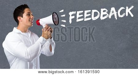 Feedback Contact Customer Service Opinion Survey Business Concept Review Young Man Megaphone