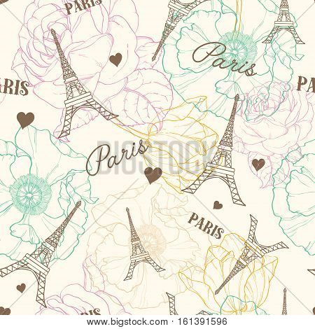 Unique Vector Eifel Tower Paris Seamless Pattern In Vintage Style With Beautiful, Romantic Pastel Flowers. Perfect for travel themed postcards, greeting cards, wedding invitations. Repeat design. Surface pattern textile design.