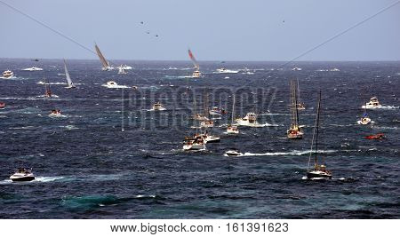 Sydney Australia - December 26 2012. Wild Oats IX leading the race from the start. Sydney to Hobart Yacht Race is an annual event starting in Sydney on Boxing Day and finishing in Hobart.
