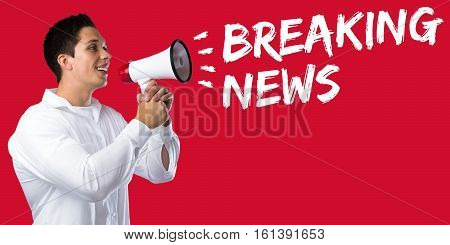 Breaking News Media Announcement Announce Information Young Man Megaphone