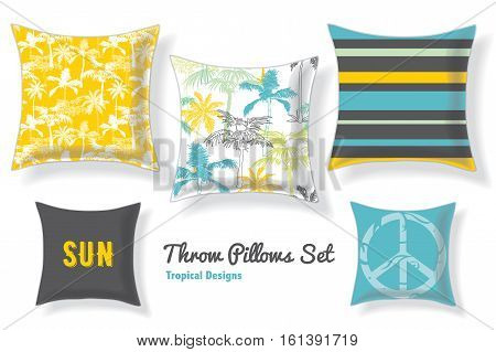FunSet Of Tropical Palm Trees Throw Pillows In Matching Unique Pastel Seamless Patterns And Designs. Square Shape. Editable Vector Template. Surface Pattern Textile Design.