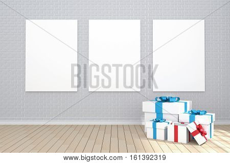 3D Rendering : Illustration Of Three Poster Hanging On The Wall In Empty Room.brick Wall And Wood Fl