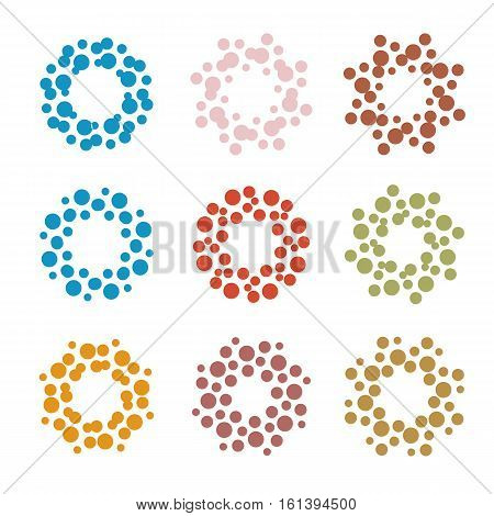 Abstract circle logotype set. Unusual dotted round isolated chem logo collection. Virus icon. Colorful sun. Flower symbol. Spiral sign.Vector germs illustration