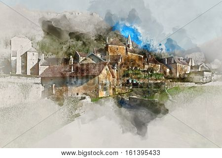 Digital watercolor painting of Baume-les-Messieurs village classified as one of the most beautiful villages of France