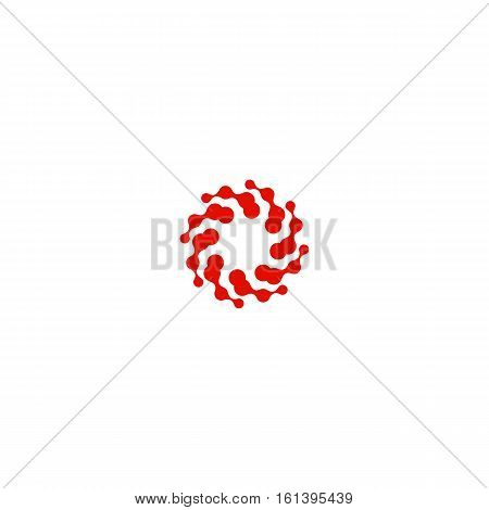 Abstract circle logotype. Unusual dotted round isolated chem logo. Virus icon. Red sun. Flower symbol. Spiral sign.Vector germs illustration