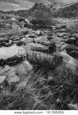 Mountain Creek in Cwm Idwal Snowdonia North Wales in Black and White
