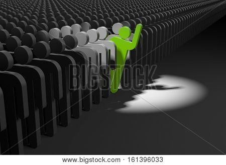 Volunteer. Person looks out from the crowd. 3d illustration