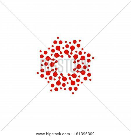 Abstract circle logotype. Unusual dotted round isolated chem logo. Virus icon. Red sun. Flower symbol. Spiral sign.Vector illustration