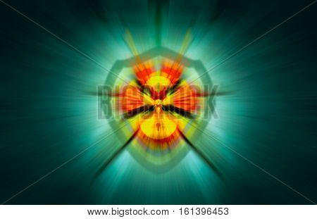 abstract motion blur background  and security shield with a yellow lock merged altogether