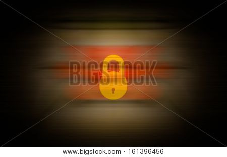 yellow lock merged on seamless abstract background