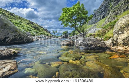 Crystal Clear Water of Mountain Spring in North Wales
