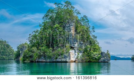 Huge Triangle Rock overgrown with Palmtrees in Hidden Bay on Gam Island near Kabui and Passage. West Papuan, Raja Ampat. Indonesia