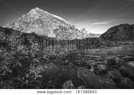 Black and White Landscape of Snowdonia Mountains in North Wales