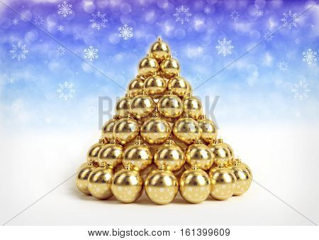 christmas theme background with golden christmas bulbs on white floor and bokeh background with snowlakes. 3D render.