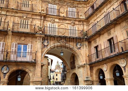 Salamanca Plaza Mayor in Spain along via de la Plata exterior image from public ground