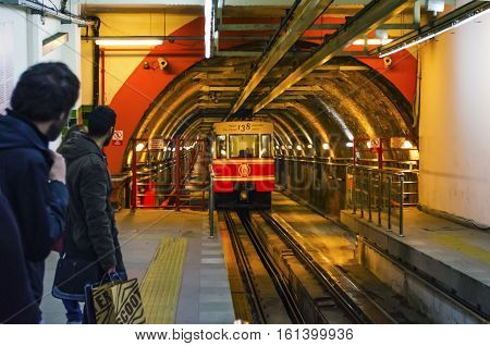 Istanbul Turkey - March 12 2013: Tunnel  is a short underground railway line in Istanbul Turkey. It is an underground funicular with two stations connecting the quarters of Karakoy and Beyoglu.