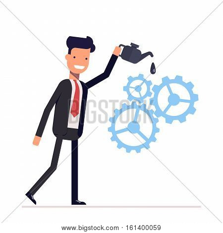 Man in suit lubricates the gear mechanism oil. The debugged work. Vector, illustration EPS10