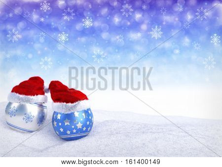 christmas balls with santa red hat on bokeh background - 3D render. Web banner.