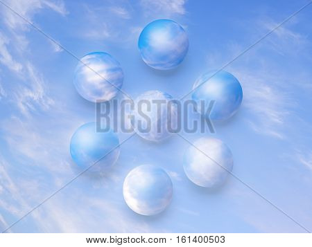 Sky colored balls on the sky table. Abstract nature ecology and purity concept