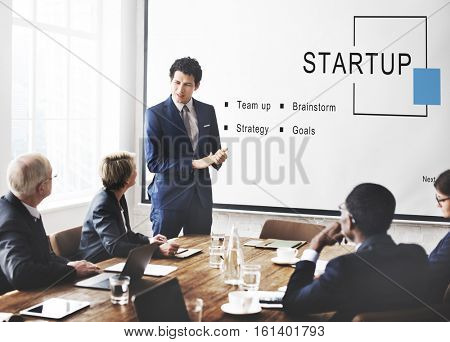 Startup Business Strategy Goals Concept
