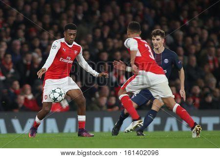 LONDON, ENGLAND - NOVEMBER 23 2016: During the Champions League match between Arsenal and Paris Saint-Germain at The Emirates Stadium