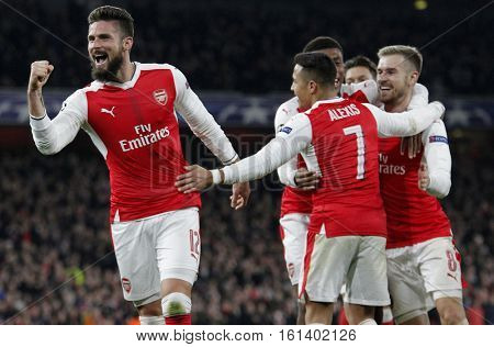 LONDON, ENGLAND - NOVEMBER 23 2016: During the Champions League match between Arsenal and Paris Saint-Germain at The Emirates Stadium