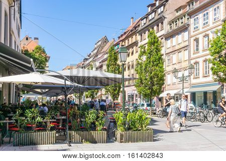 STRASBOURG, FRANCE - August 23, 2016 : Street view of Traditional houses in Strasbourg,  Alsace. is the official seat of the European Parliament, Located close to the border with Germany