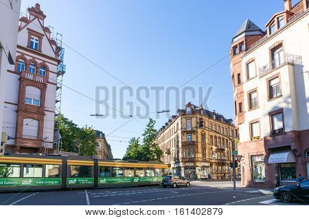 KARLSRUHE, GERMANY - August 25, 2016. Street view of TRAIN STATION in Karlsruhe, Germany, the second-largest city in the state of Baden-Wuerttemberg, in southwest Germany.