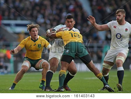 TWICKENHAM, ENGLAND - DECEMBER 03 2016: During the Old Mutual Wealth Series match between England and Australia, at Twickenham Stadium