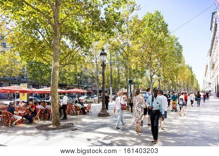PARIS, FRANCE - August 28, 2016 : beautiful Street view of  Buildings around Paris city. Paris is the capital and most populous city of France. August 28, 2016, Paris, France