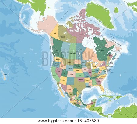 The largest countries of the North America are Canada, the United States and Mexico.