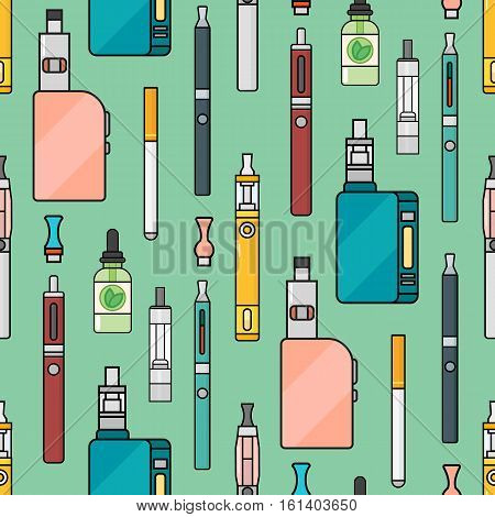 Vector seamless pattern of vape. Endless background electronic cigarette. E-cigarette store wrapping paper or poster design. Portable mod shop smoke device.